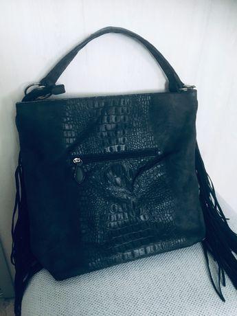 Piękna torebka krokodylek z frędzlami
