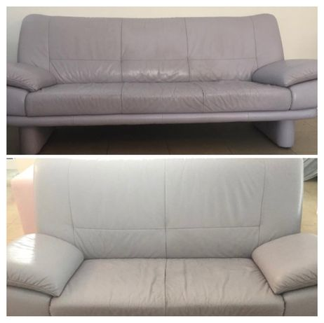 Kanpa sofa skórzana kler jasny fiolet