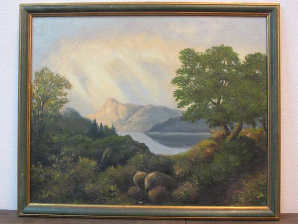 Obraz olejny na płycie, góry, jezioro, pejzaż, 55x45
