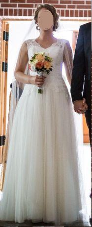 Piękna kremowa suknia ślubna z koronkami r. 36/38