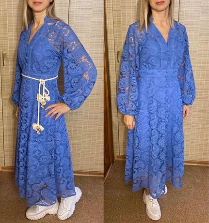 Модное летнее синее кружевное платье из кружева макраме