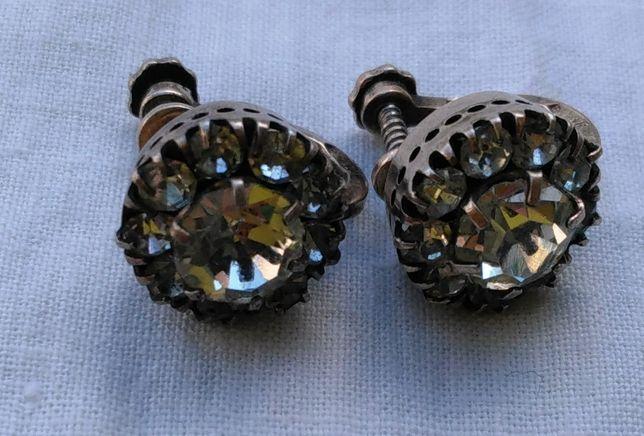 Серьги клипсы с камнями серебро 875 звезда ссср сережки винтаж старина
