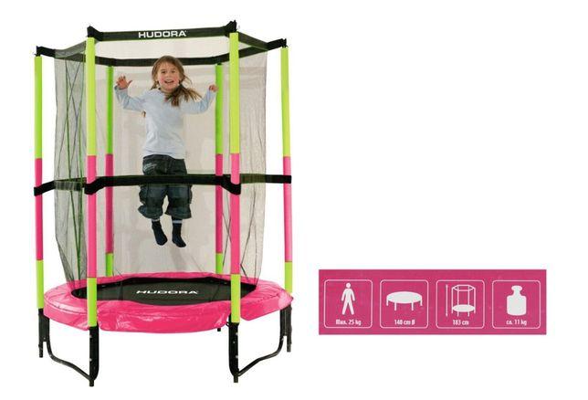 Trampolina HUDORA 140 cm dla dzieci bezpieczna różowa