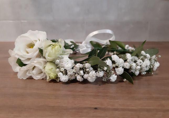 Wianek na głowę z żywych kwiatów ślub panieński, wianek komunijny