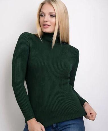Гольф женский под горло в рубчик М темно-зеленый