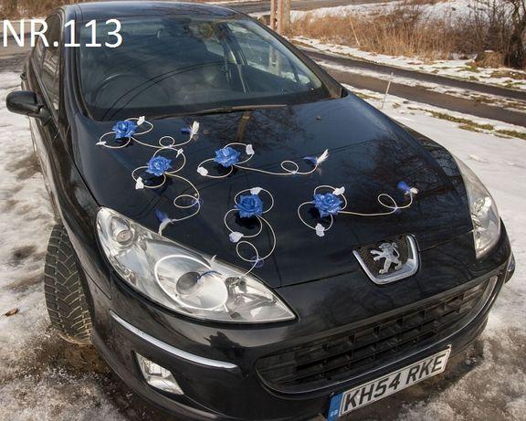 Śliczna dekoracja na samochód do ślubu w super cenie.