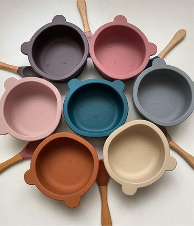 Силиконовая детская посуда, нагрудник+тарелка+ложка, силіконовий посуд