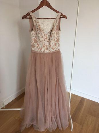 Sukienka ślubna świadkowa na poprawiny beżowa tiul haft XS whisper dam