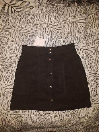 spodnica elegancka, czarna, z guzikami