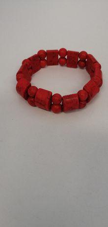 bransoletka z korala czerwona śliczna