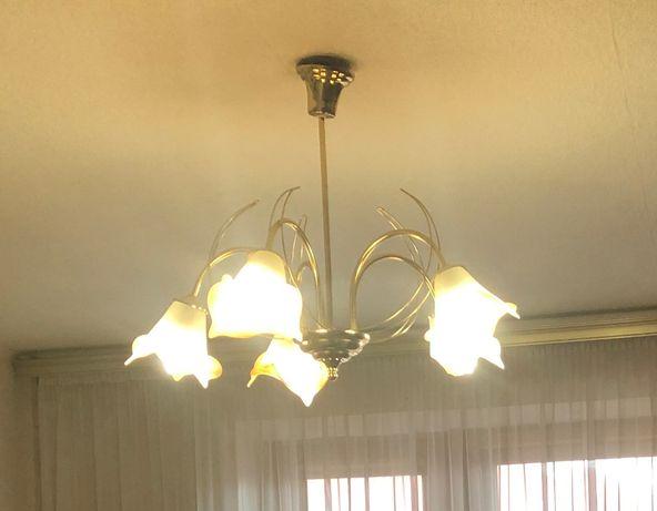 Люстра/светильник (5 цветочных плафонов) Е14 золото