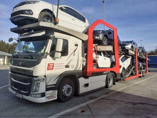 Transport samochodów autotransporter cała Europa lohr lora usługa