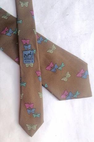 Hermès 7133 FA Бабочки Разноцветный принт Мужской шелковый галстук