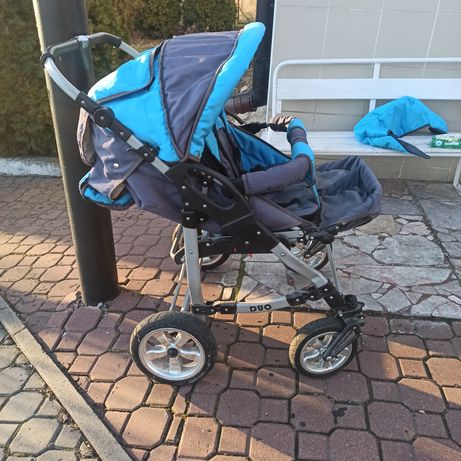 Wózek Duo bliźniak podwójny niebieski