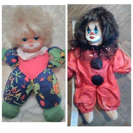 Мягкая игрушка кукла клоун набор 2шт с натуральным мехом 25см