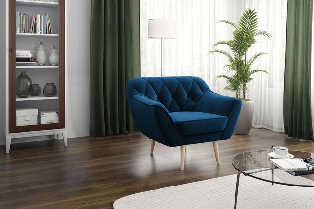 Fotel wypoczynkowy skandynawski styl, granatowy - pikowany