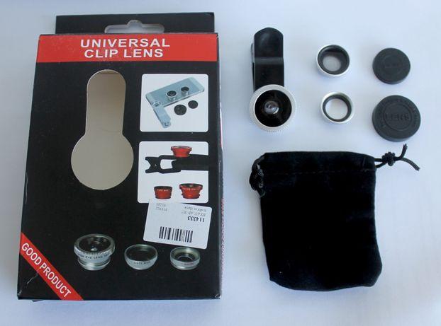 Kit de 03 lentes fotográficas para telemóvel / tablet (NOVO)