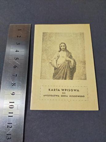 Karta Wpisowa do Apostolstwa Serca Jezusowego stan kolekcjonerski