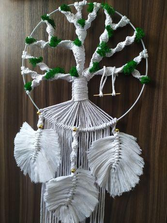 Makrama drzewo z mchem, łapacz snów