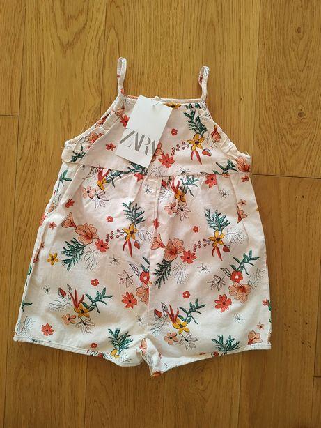 NOWY 104 Zara rampers kombinezon na ramiączkach różowy kwiaty kwiatki