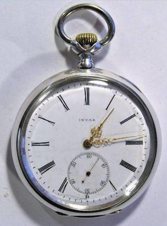 Zegarek kieszonkowy srebra 0,800 INVAR z łańcuszkiem