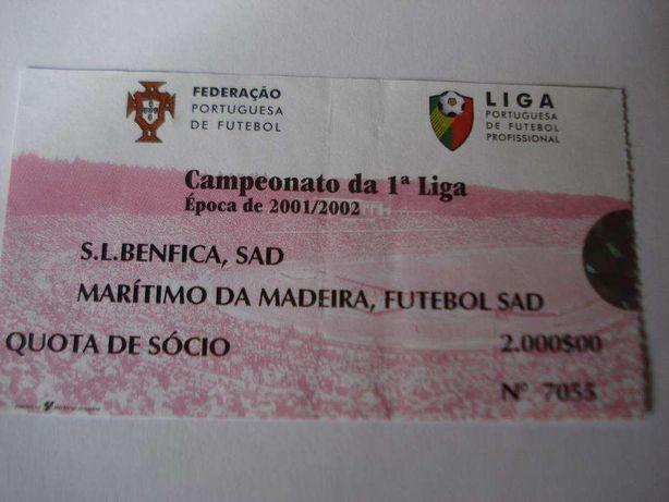 Bilhte de Futebol Antigo: S.L.Benfica/ Marítimo da Madeira
