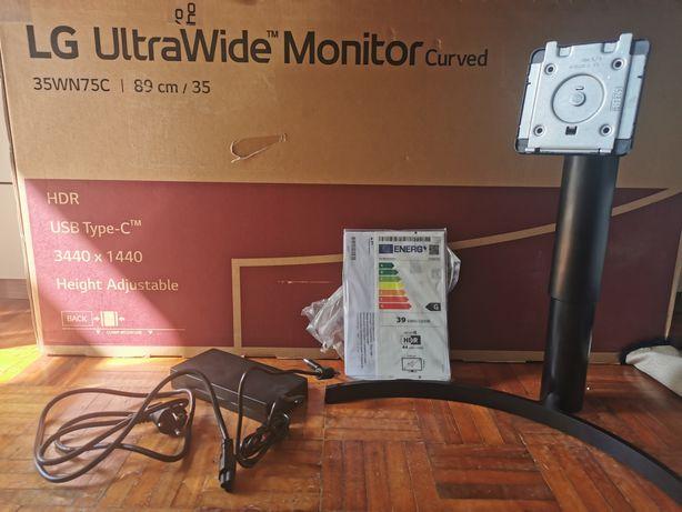 Caixa e fonte de alimentação stand monitor LG 35wn75c ultrawide