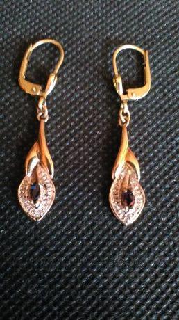 Złote kolczyki i pierścionek Szafir, Diament Certyfikat