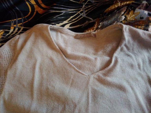 Sweterek cienki Orsay S 36 siateczka na ramionach, błyszczący