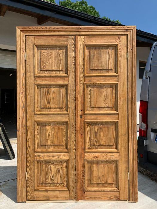 Drzwi dwuskrzydłowe sosna od ręki postarzane 130x205