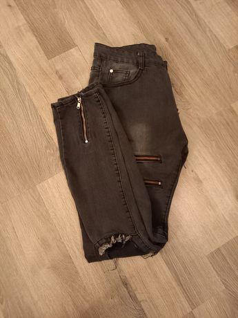 Spodnie jeansy dziury zamki XL 42