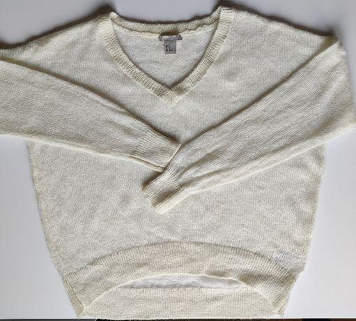 Jasny oversizowy sweter - H&M rozmiar M