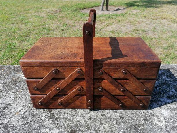 Caixa de costura em madeira antiga articulada