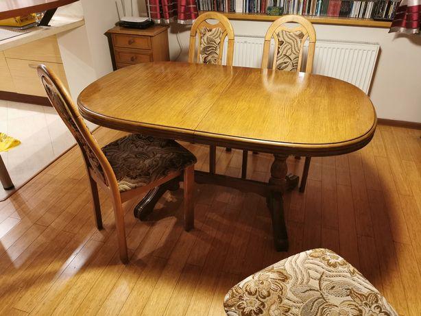 Stół drewniany krzesła*dębowy*rozkładany