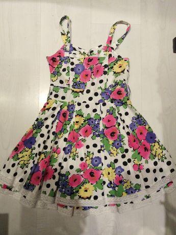 Sukienka kwiaty groszki 8 9 lat