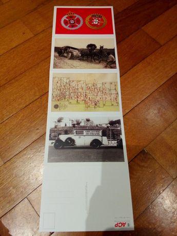 Seis postais ACP (Automóvel Clube Portugal) + Selo 5 Reis em alumínio