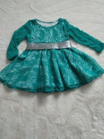 Sukienka dla dziewczynki koronka zielona elastyczna