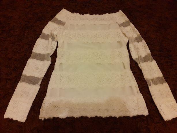 Biała koronkowa bluzka damska r. M