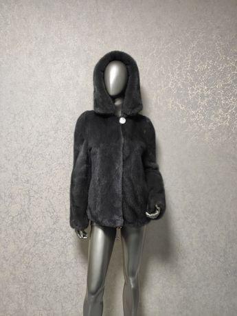 Плюшевая норковая шуба, шубка, графит. Маленький размер. 65 см