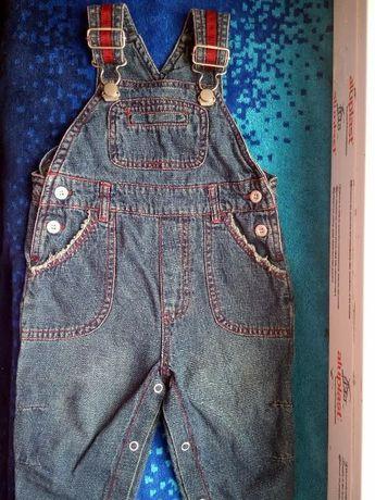 Комбинезон джинсовый фирменный 3-6 мес+ ромпер в подарок