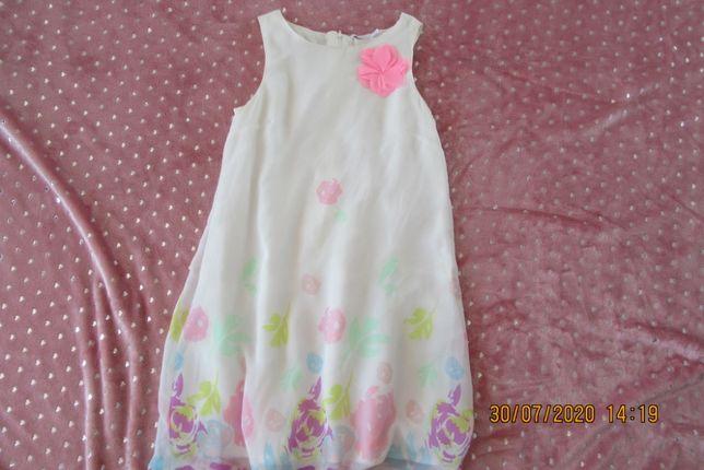 Biała sukienka w kwiaty dla nastolatki dziewczynki z Smyk 152 śliczna