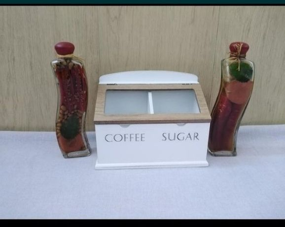 Каробка деревянная кофе /сахар