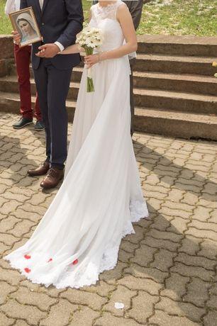 Suknia ślubna 34/36 + koronkowy, odpinany tren