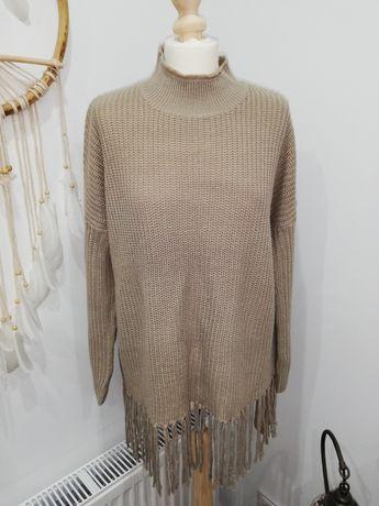Sweter, tunika z fredzlami