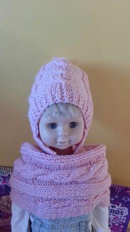 Komplet czapka komin różowy dla dziewczynki 3-5 lat