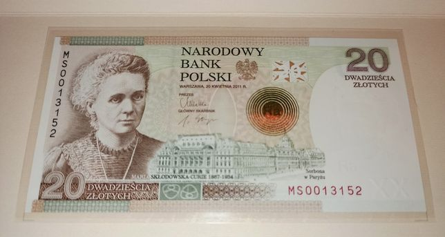 Banknot kolekcjonerski NBP Maria Skłodowska-Curie 20zł nr 13152