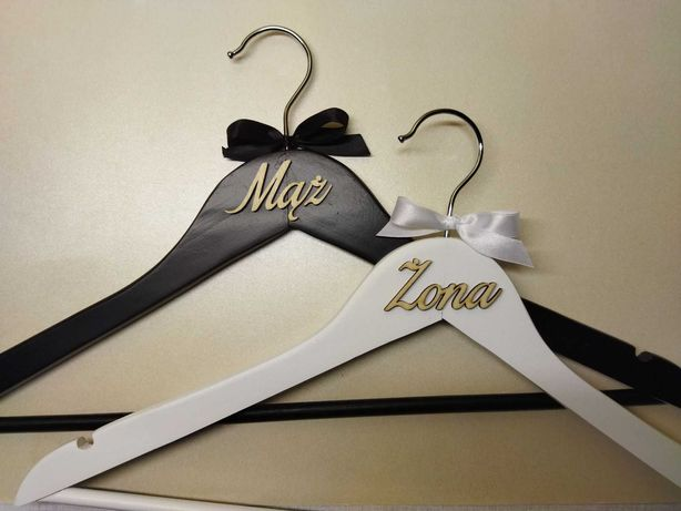 Komplet wieszaków ślubnych - czarny i biały