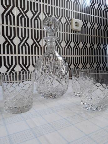 Garrafa redonda de cristal Atlantis, com 3 copos