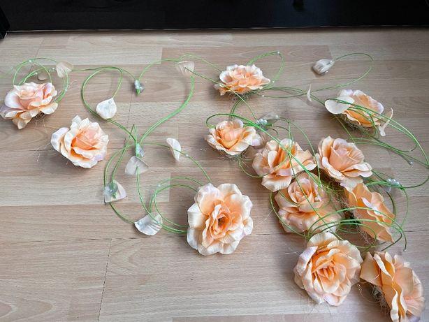 Ozdoby weselne / dekoracje / kwiaty / na samochód / Kolor łososiowy