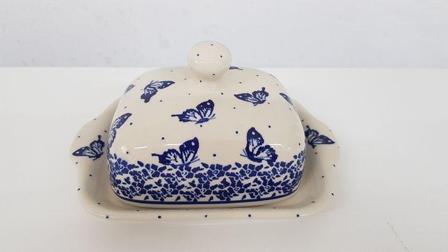 Maselnica motylki ceramika Bolesławiec